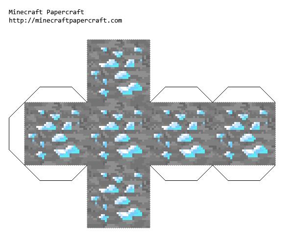 Papercraft Diamond Ore Faithful 32x Minecraft Crafts Paper Crafts Minecraft Printables