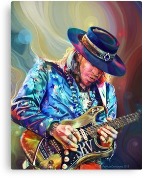 The Original Painting By Patricia Demoraes Canvas Print Musician Art Stevie Ray Vaughan Stevie Ray