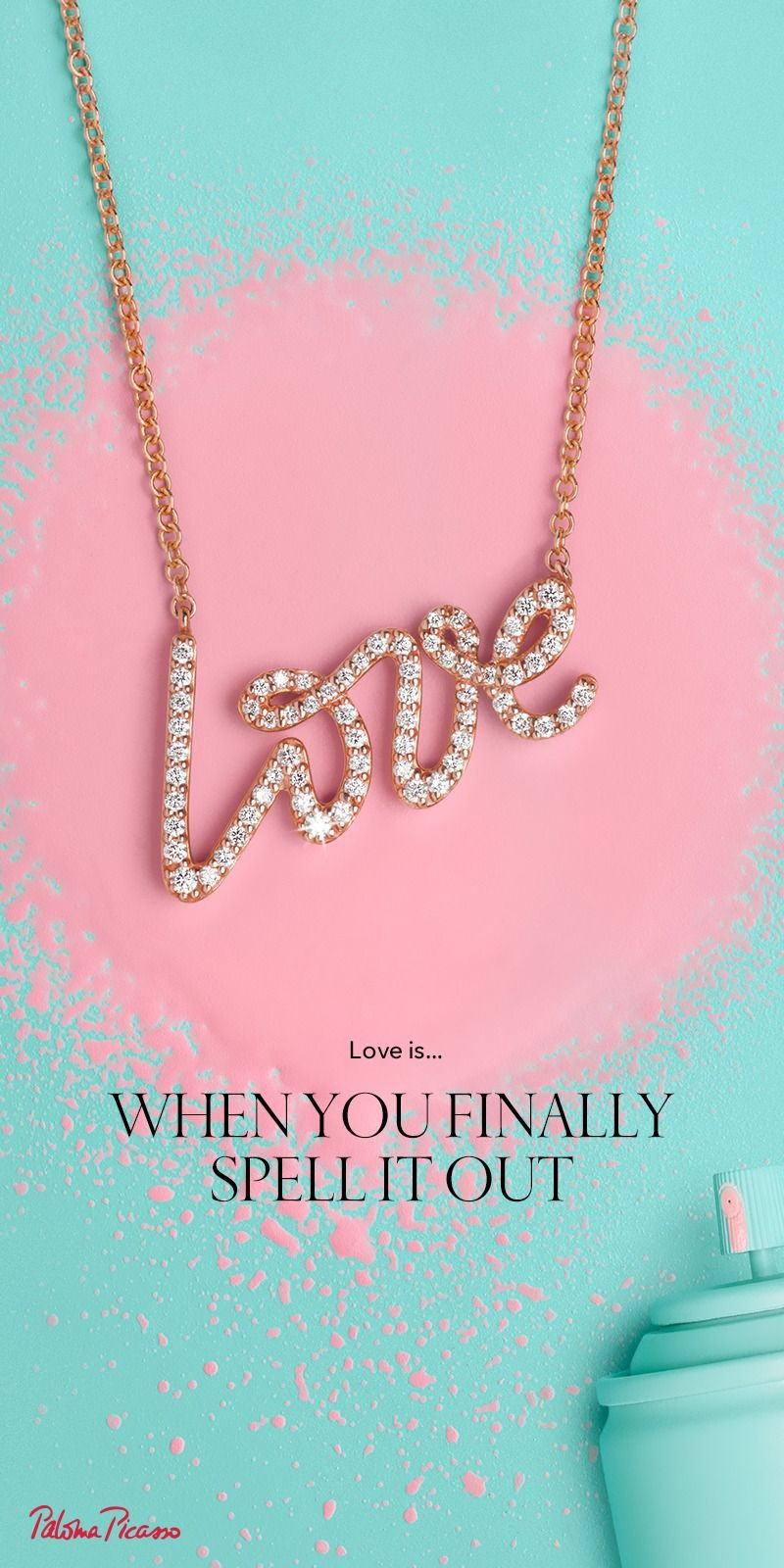 d7ece1b78f3d Let Tiffany help you find the words. Paloma s Graffiti love pendant in 18k rose  gold with diamonds.