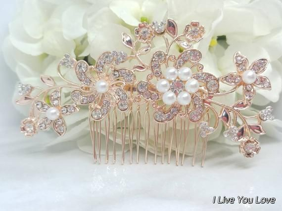 Mouse Ears Hidden Mickey Bridal Hair Comb-Rose Gold Bridal Hair Accessories,Wedding Hair Accessories #bridalhairflowers
