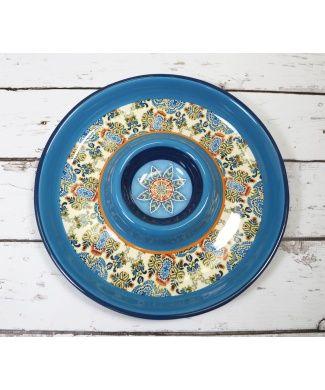 Carraig Donn Delphi Azure Blue Chip & Dip Dish #Moroccan #Print