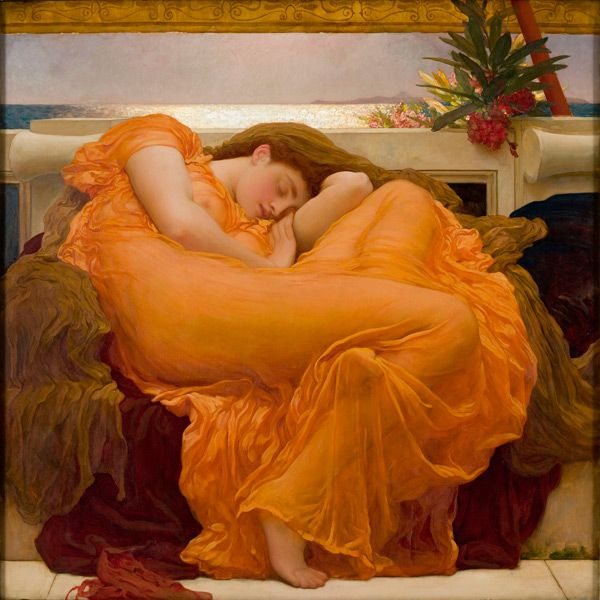 Have always loved this painting. Had it hanging in our sailboat. It is the epitome of serenity. Frederic Leighton, Flaming June, ca. 1895.