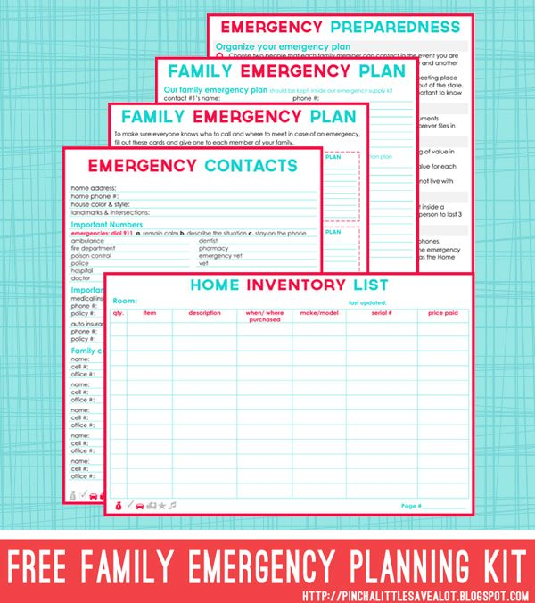 Create A Family Emergency Plan  Family Emergency Free Printables