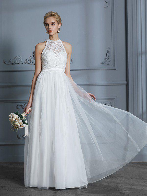 A-Line/Princess Scoop Sleeveless Tulle Floor-Length Wedding Dresses ...