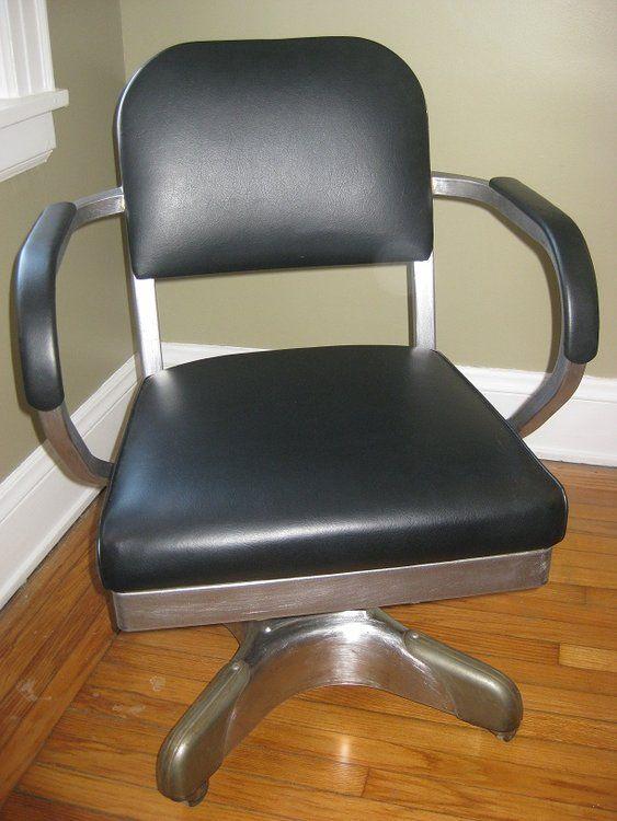 Superbe 1963 Bare Metal Tanker Chair In Black Leather   Metals, Tanker Desk And  Desks