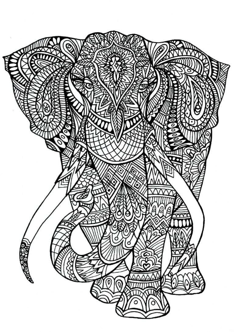 Elephant - Coloriages D'animaux - 100% Mandalas Zen & Anti-Stress throughout Coloriage Zen Animaux - KBACHA.COM | KBACHA.COM