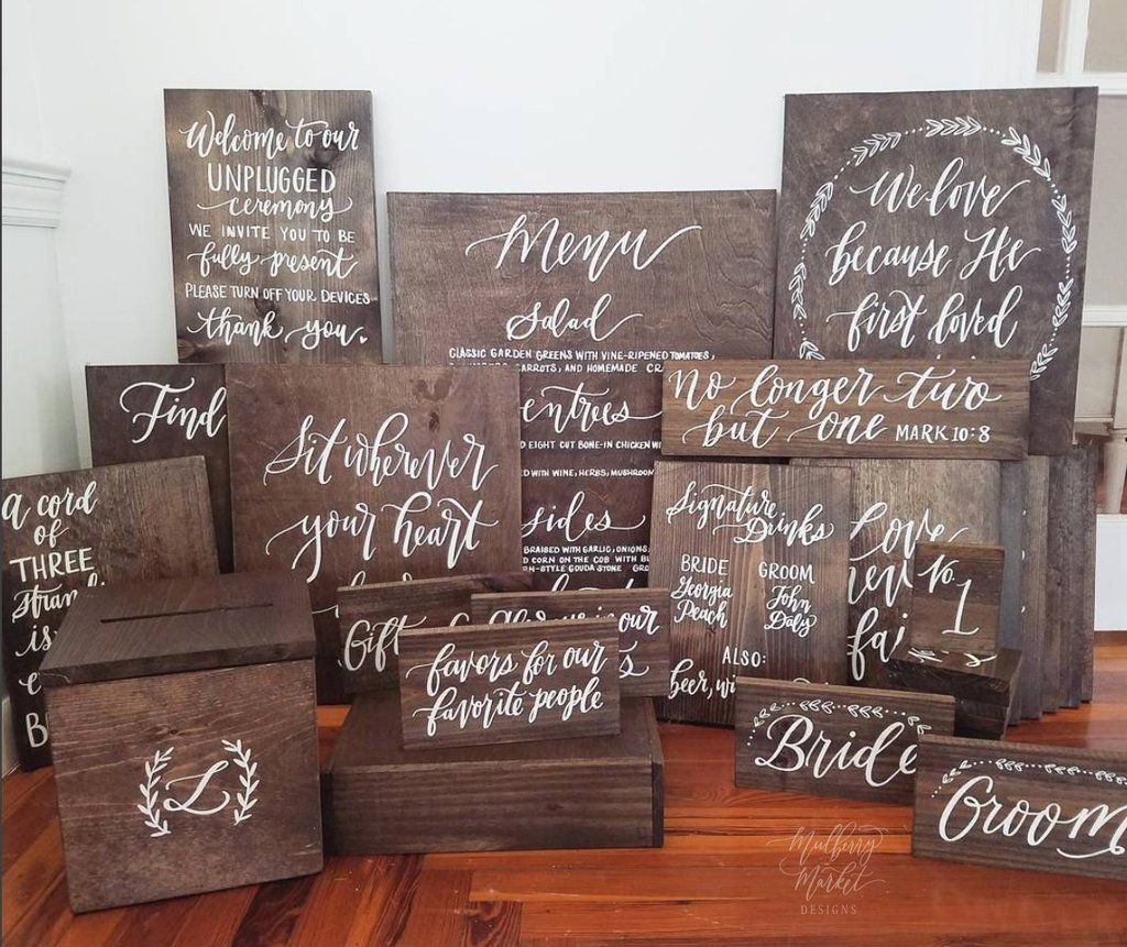 Complete Wooden Wedding Sign Packages Handmade By Mulberry