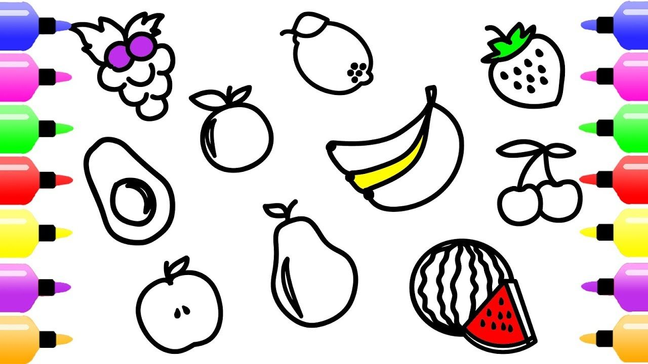 fruits drawing and coloring pages for kids cute art coloring book for children - Coloring Books For Toddlers
