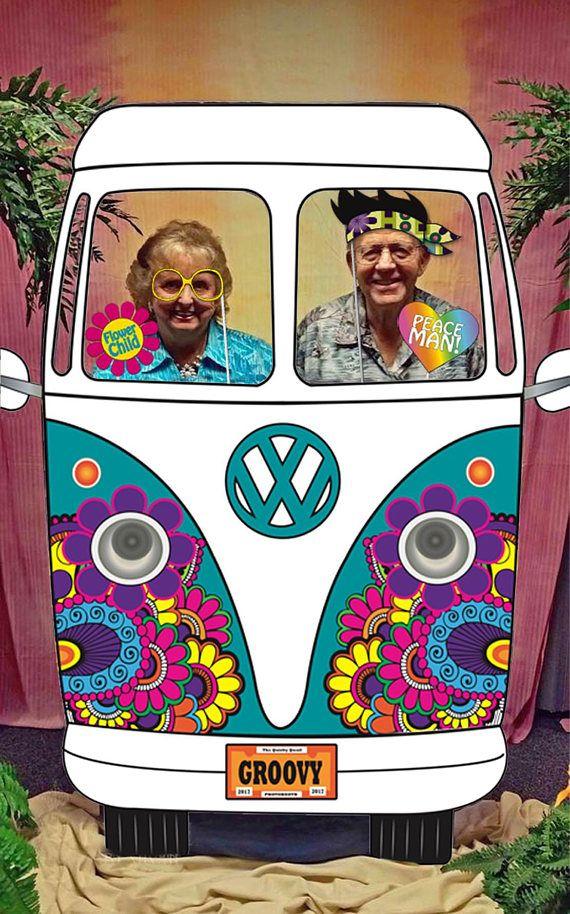 Camper Van Birthday Party Idea; 1601131 Hippie Van Birthday Photo booth Retro Van Party Photo Prop