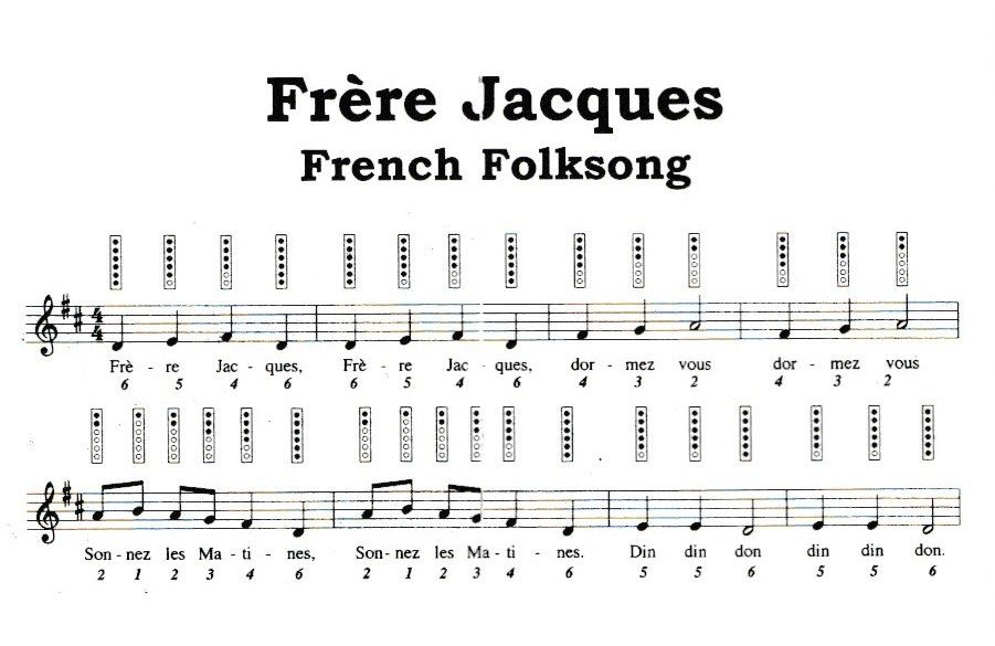 Frere Jacques Folk Song Sheet Music Fife