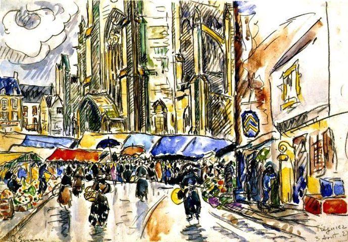 Paul Signac - The Market, Treguier, 1927