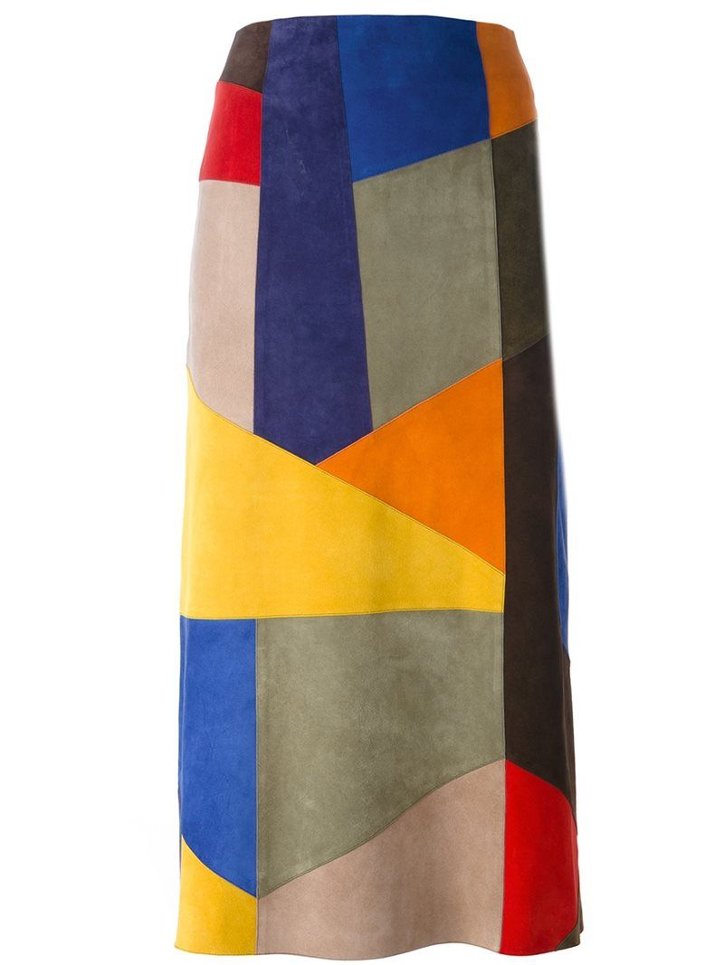 Victoria Beckham patchwork midi skirt