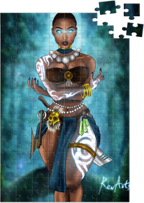 African american super hero puzzle yoruba warrior