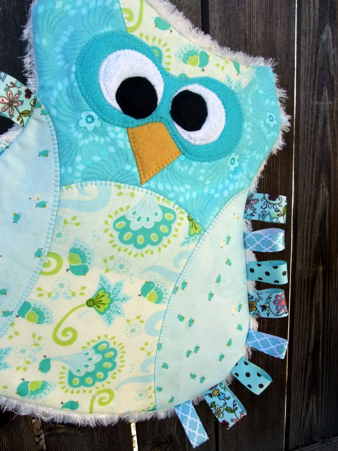 Owl Taggie Animal Blanket Personalized Security Blanket Baby Blankie