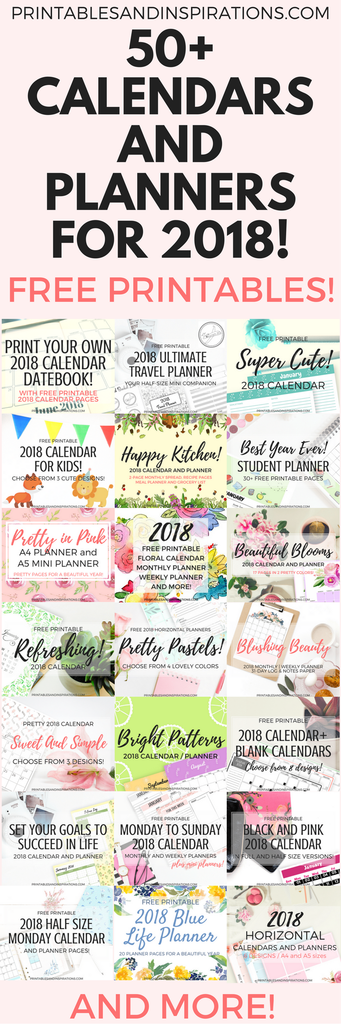 Free Printable Calendars And Planners For 2018 - 50+ Designs