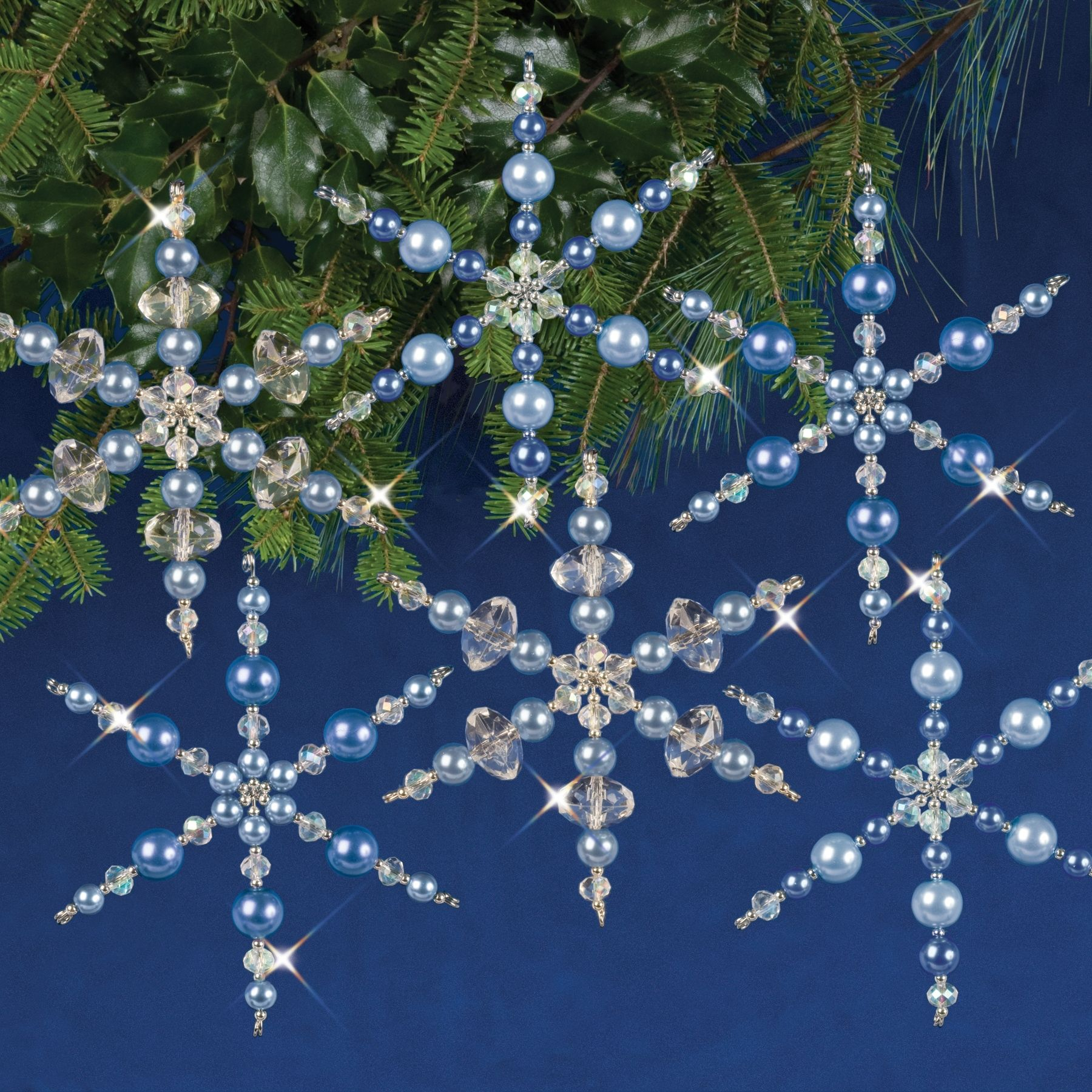 Nostalgic Beaded Ornament Kit RUBY SNOWFLAKES Holiday Ornaments Makes Up to 8