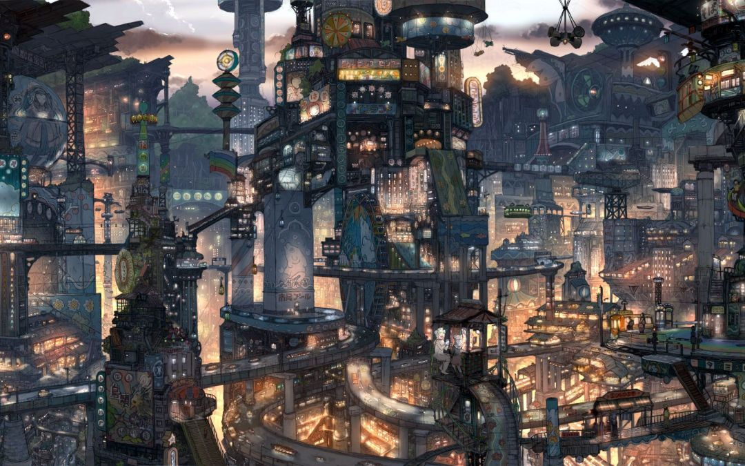 Japanese Anime City Android Iphone Desktop Hd Backgrounds Wallpapers 1080p 4k 125763 Hdwallpapers Android Steampunk City Anime City Anime Scenery