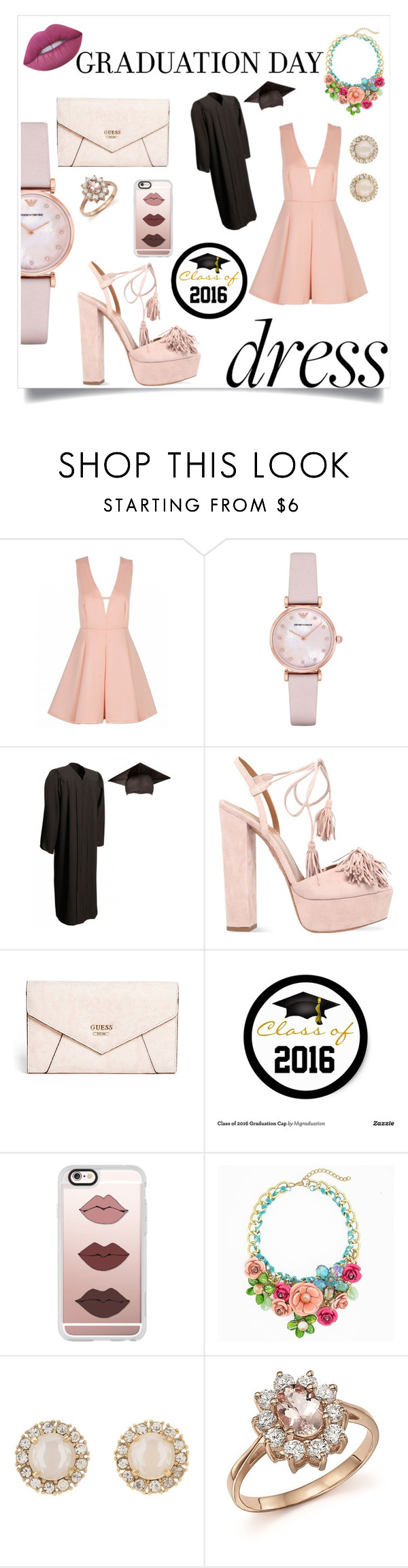 """The best day with the best colors"" by julietarequena on Polyvore featuring Emporio Armani, Aquazzura, GUESS, Casetify, Kate Spade, Bloomingdale's, Lime Crime and graduationdaydress"