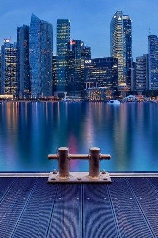 Metropolis Night Time Cityscape River Iphone 5 Wallpaper