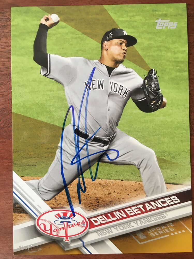 DELLIN BETANCES 2017 TOPPS UPDATE SERIES 5x7 SIGNED 97 7
