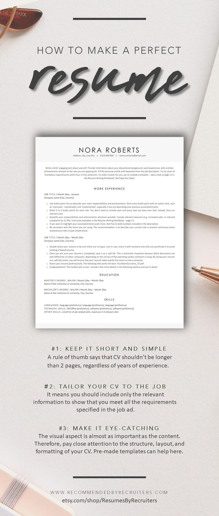 Executive Resume Template, Instant Download ATSfriendly 1