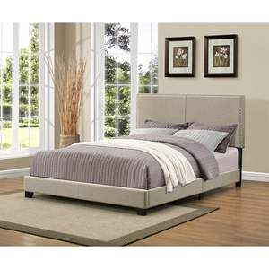 Christie Grey Upholstered Queen Bed with Nail Head Trim