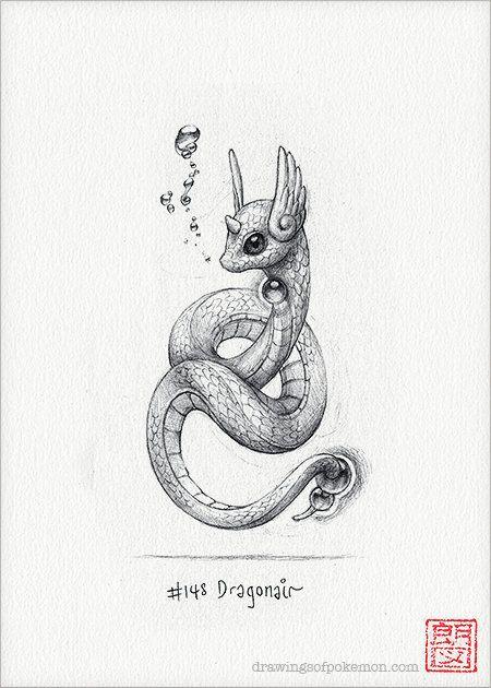"""Dragonair – 5×7 """"Druck (Pokemon Zeichnung, Kunst, Kunstwerk, Spiele, Nintendo, Dekor)   – cute"""