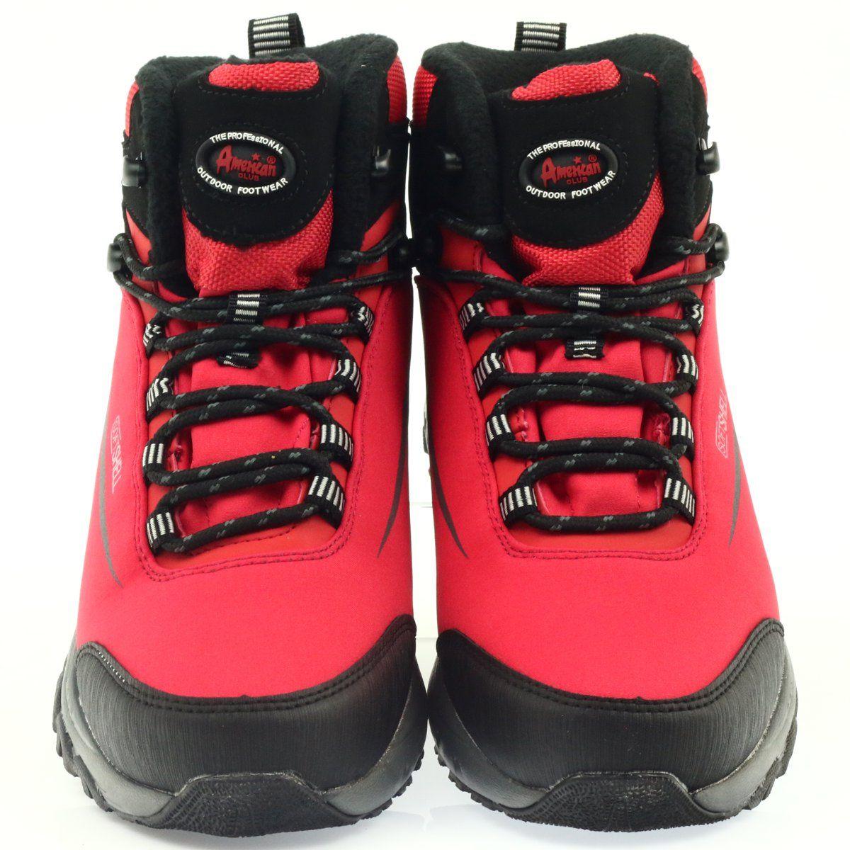 American Club Trekkingi Softshell Z Membrana Czarne Czerwone Hiking Boots Softshell Boots