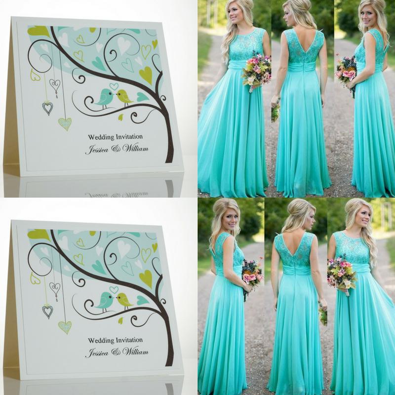 Tiffany Blue Wedding Invitations With Love Birds.