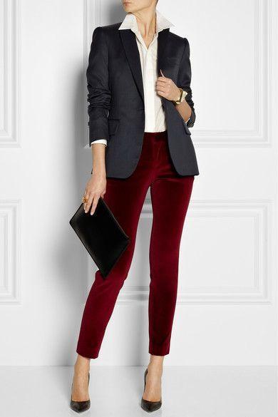 2021 Ofis Kombinleri Bayan Takim Elbise Kirmizi Dar Pantalon Siyah Ceket Moda Stilleri Is Giysisi Sonbahar Stili