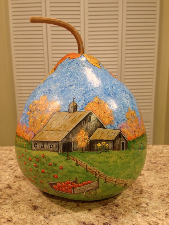 Hand painted pumpkin farm on gourd by PappysPaintings on Etsy, $20.00