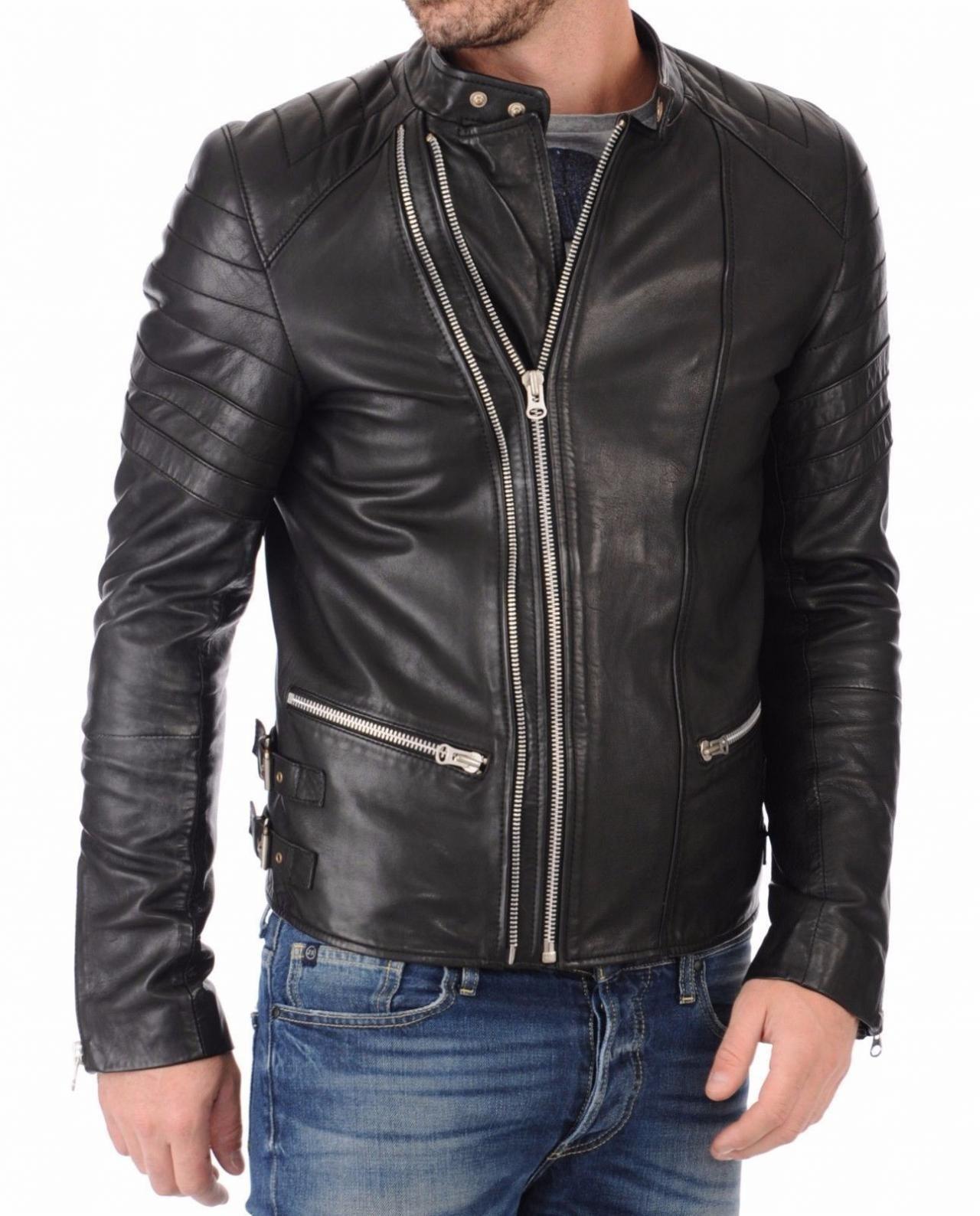 Men Leather Jacket Handmade Black Motorcycle Solid
