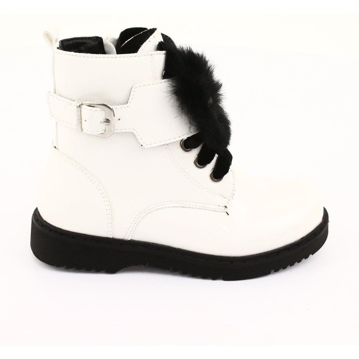 Glany Lakierowane Puszek Evento 1438 Biale Czarne Boots Childrens Boots Kid Shoes