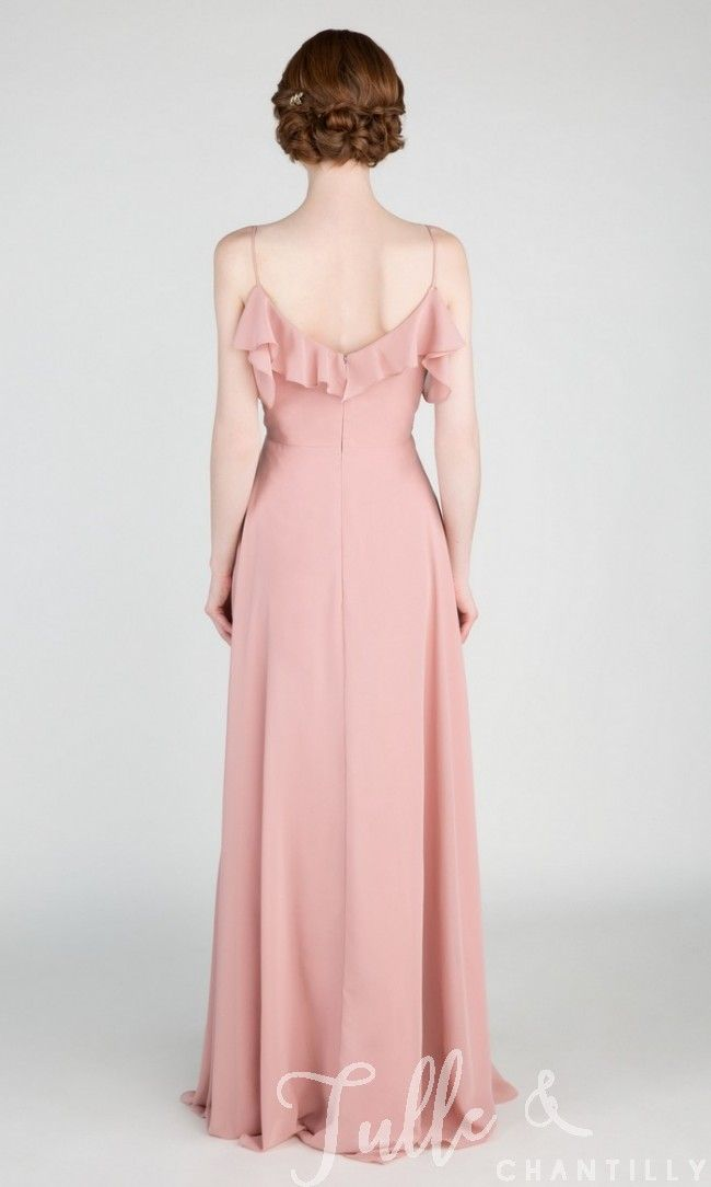 Dramatic Off Shoulder Ruffled Bridesmaid Dress with Spaghetti Straps ...
