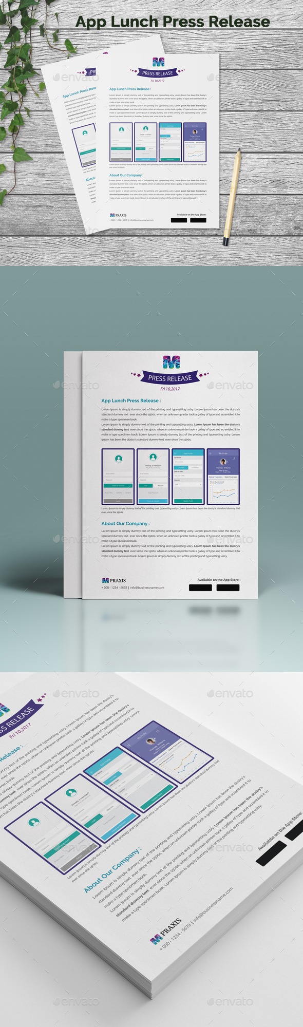 Mobile App Launch Press Release Template   Stationery printing  Ai     App Lunch Press Release Design Template   Stationery Print Template Vector  EPS  AI Illustrator