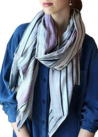 Women's Abstract Watercolor Art Stripe Multicolor Scarf Soft Fashion Shawl at…
