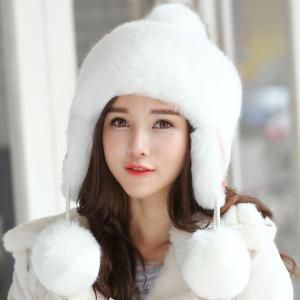 e945b9dc275 Plain white bomber hat with ear flaps for women fluffy winter hats with  ball on top