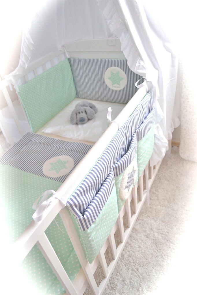 Baby Bett Nestchen mint grau Stern - Krone - Herz - Elfen-Kinder ...