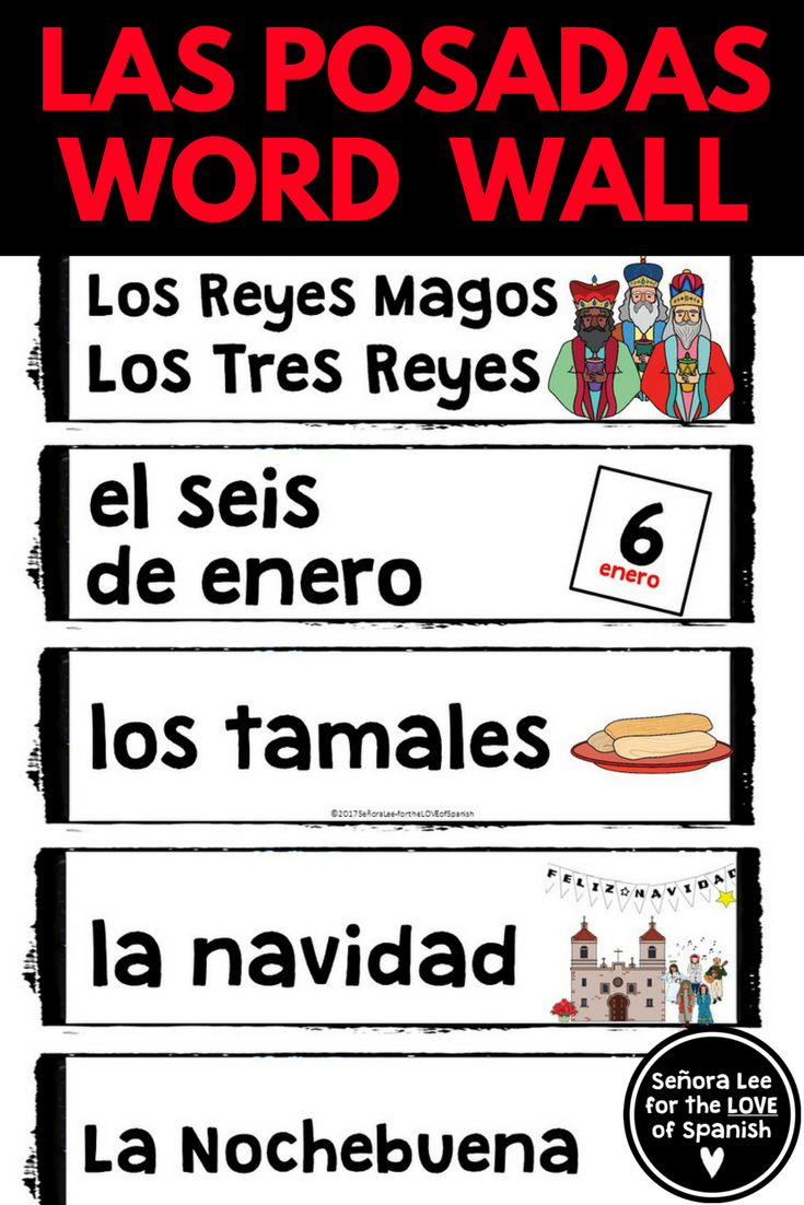 Workbooks las posadas worksheets : Spanish Word Wall - Christmas in Mexico Word Wall LAS POSADAS ...