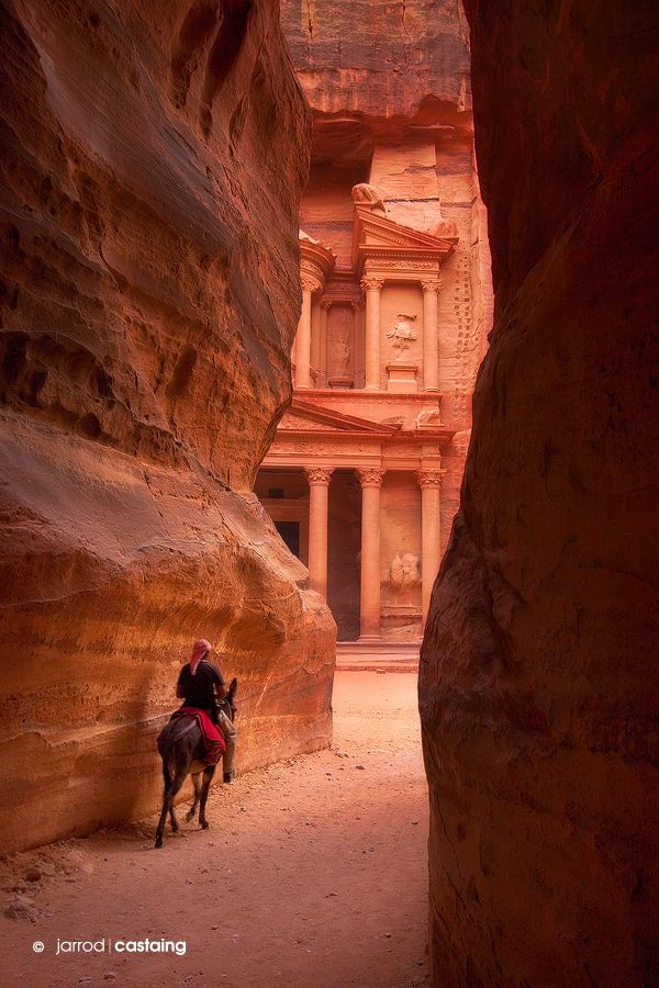 Entrance to rose red ancient city, Petra by j. Castaing