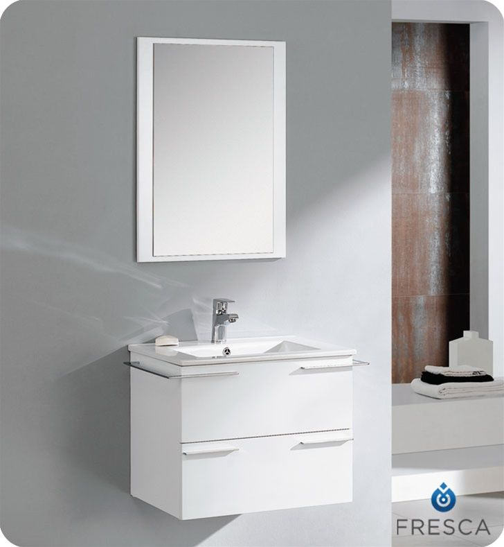 Cielo 24 Inch White Finish Modern Bathroom Vanity  Bathroom Brilliant Designer Bathroom Cabinet Inspiration