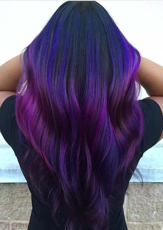 24 Famous Dark Purple Hair Color Ideas for 2018