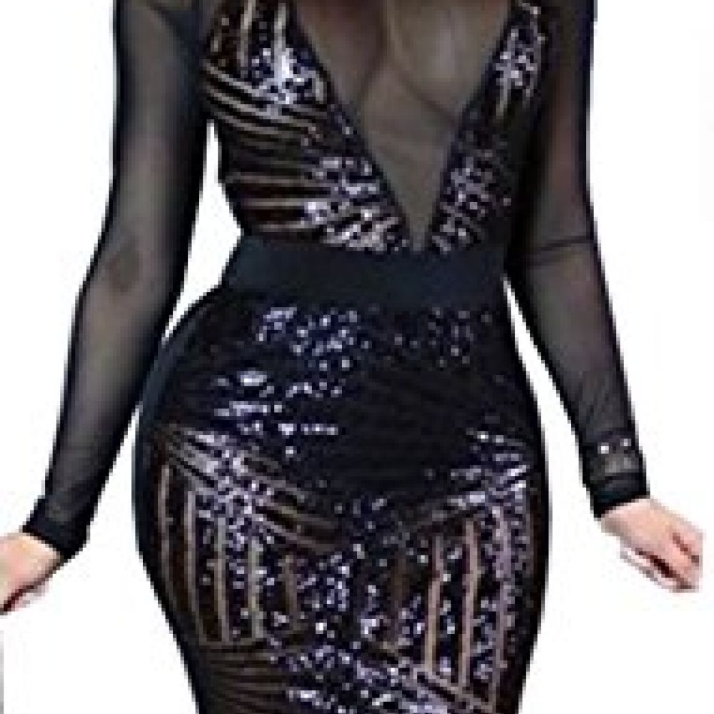 Kearia womens sexy black sequin mesh splice long sleeves clubwear