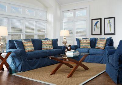 Good Cindy Crawford Home Beachside Blue 7 Pc Living Room   Living Room Sets (Blue )