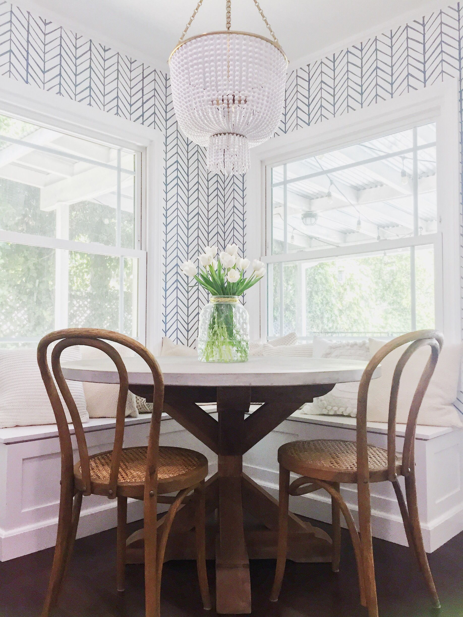 Breakfast Nook Dine In Eating Area Bentwood Chairs Wallpaper