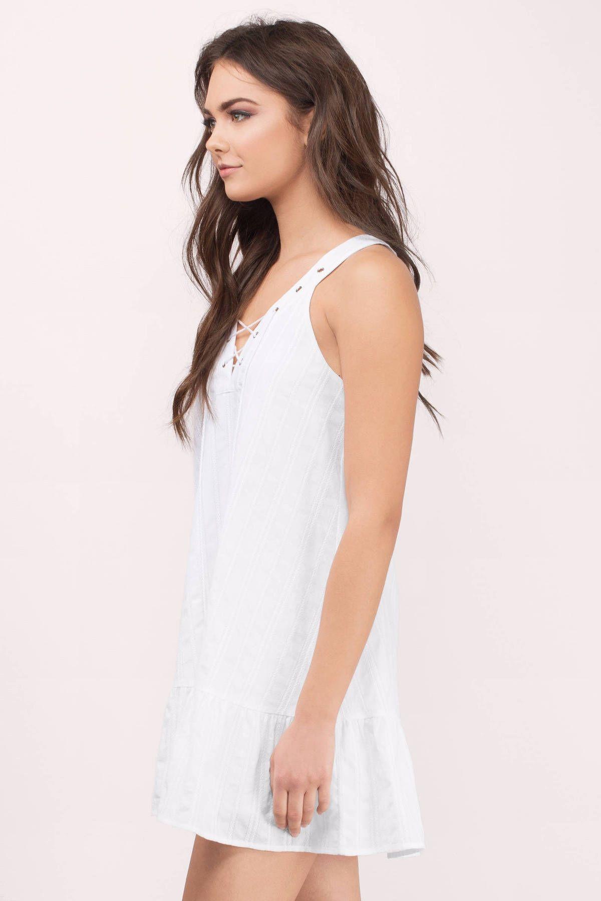White Dresses, White Shaelyn Lace Up Mini Dress