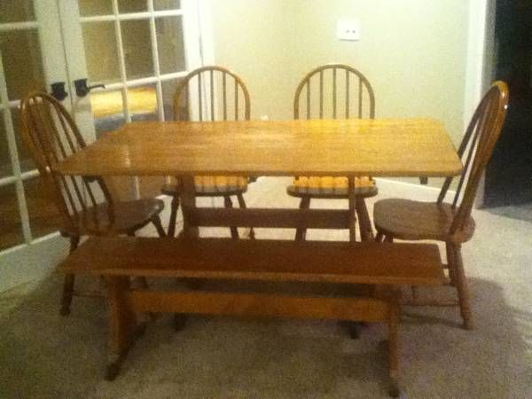 All Wood Six Piece Dining Table. Table Is 61 X 36, 4 Chairs,
