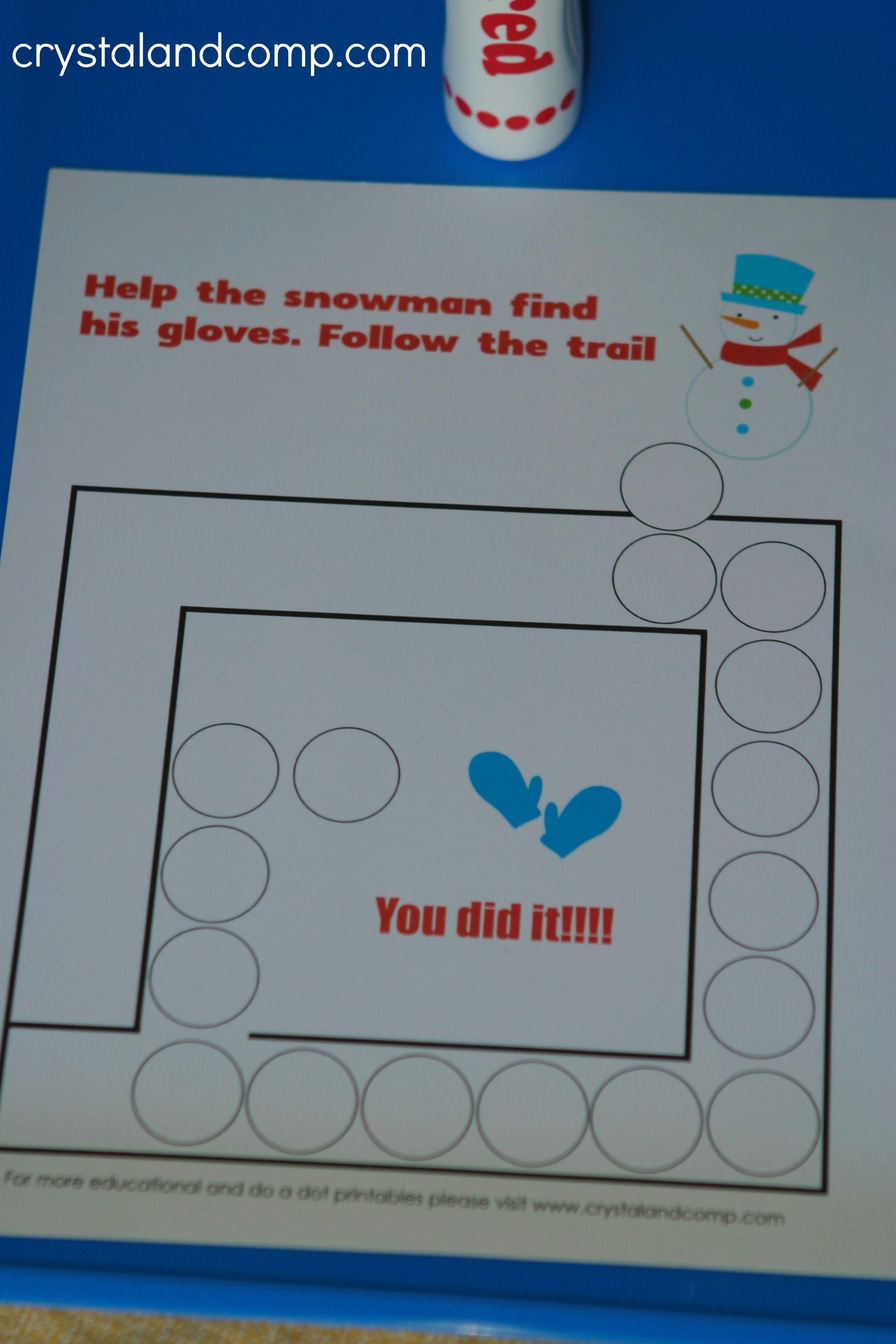 Snowman Do a Dot Printables for Preschoolers   Snowman, Teaching ...