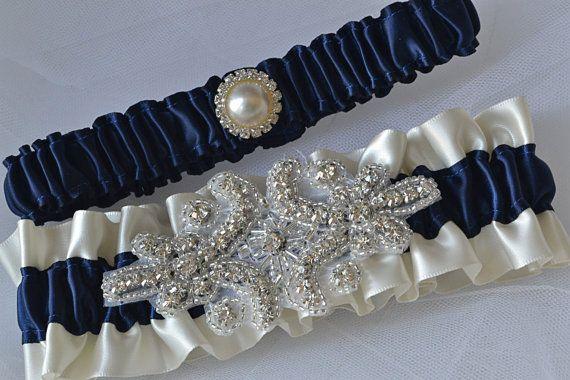 0584e9e7e Wedding Garter Set Navy Blue Garters And Ivory by ElegantGarters