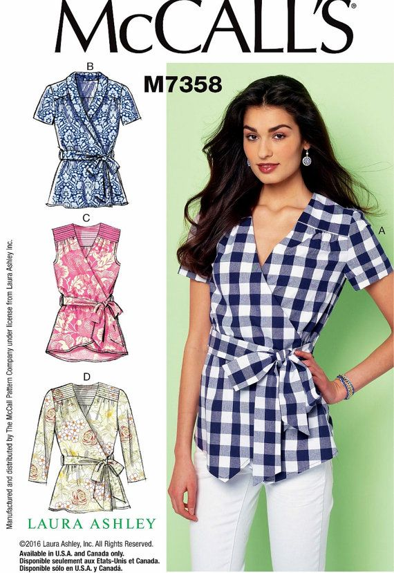 Loose Fitting Wrap Blouse Pattern, Loose Fit Wrap Tops Pattern ...